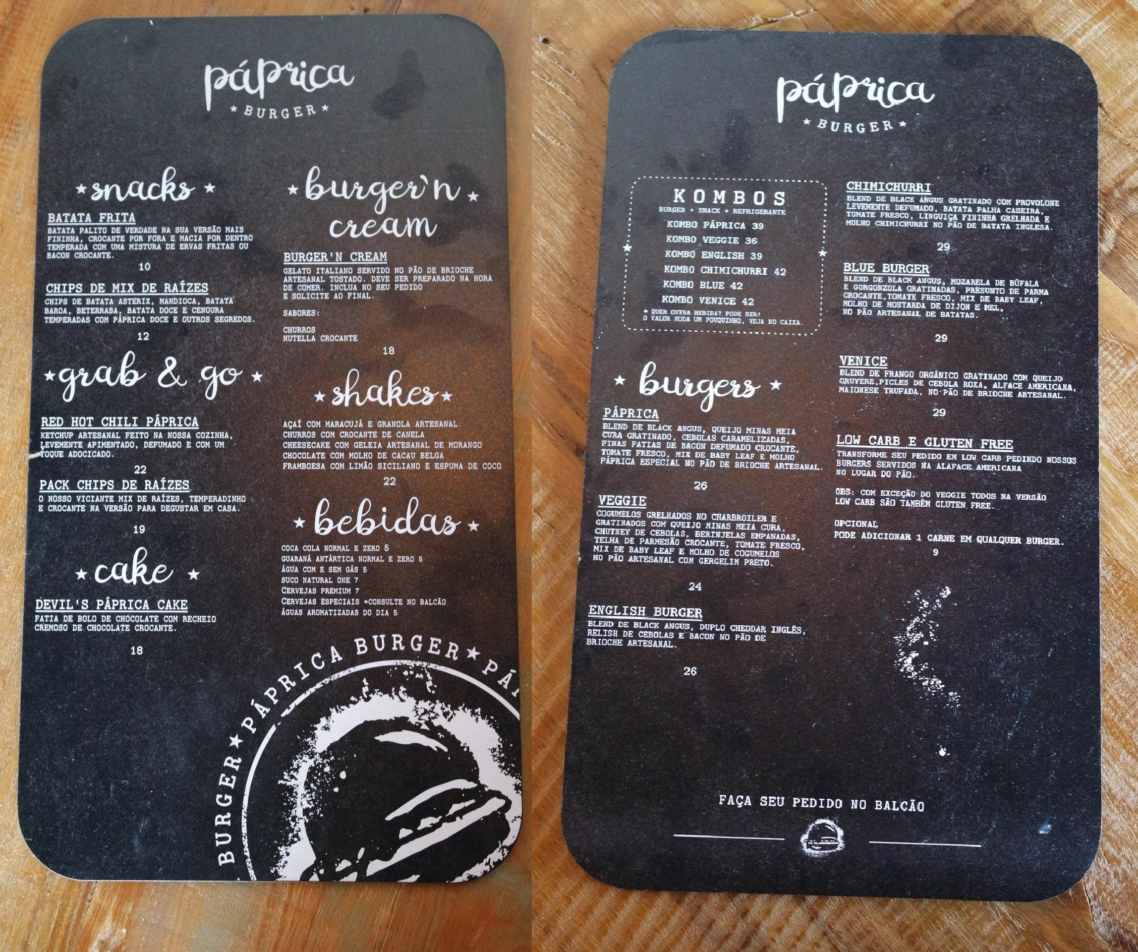 Menu do Páprica tem burgers, milkshakes, batatas, entre outras delícias